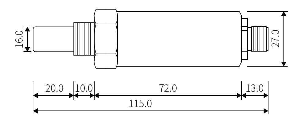 dew-point-transmitter-dimesions-UNF-thread